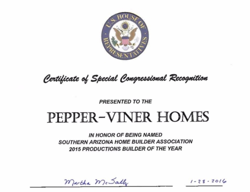 Pepper Viner Homes Receives Certificate of Special Congressional Recognition
